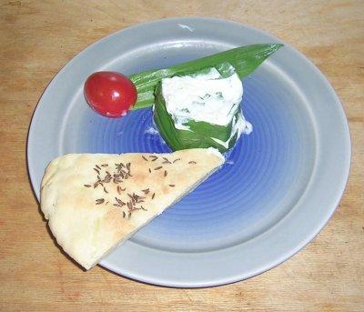 Ziegenkäse-Bärlauch-Terrine: Einzelne Portion
