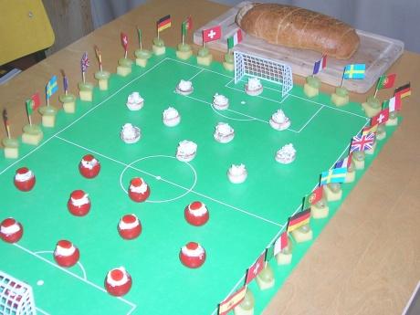 Schnittchenplatte zum Fußballspiel