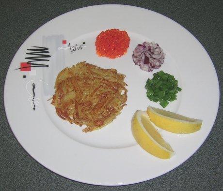 Weißfischrogen mit Kartoffelküchlein