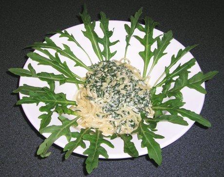 Shaghetti mit Rucola-Sauce