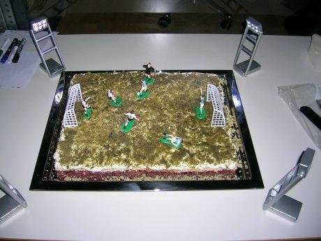 Fußballkuchen mit Flutlicht