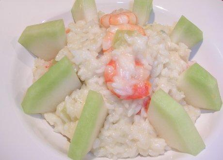 Risotto mit Melone, Garnelen und Gorgonzola